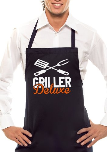 Comedy Grill Griller-Deluxe-Bicolore-Tablier Noir/Orange/Blanc