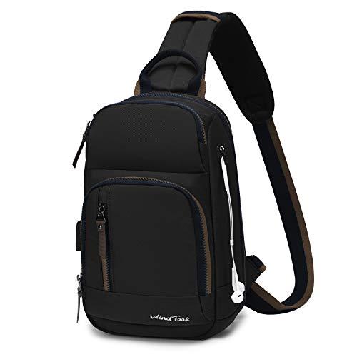 Wind Took Schultertasche Herren Taschen Brusttasche Sling Bag Crossbody Rucksack mit USB Ladeanschluss Kopfhörer Loch für Reise Arbeit Sport Daypack