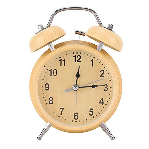 Ymiko Despertador, Despertador mecánico Retro Reloj de Cuerda Manual Reloj de Metal Campana Doble Doble