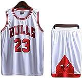 Dll Mens 2-Pieza sin Mangas y Pantalones Cortos Set, Michael Jordan # 23 toros Baloncesto Jerseys Cortos de Verano (Color : White, Size : 3XL)