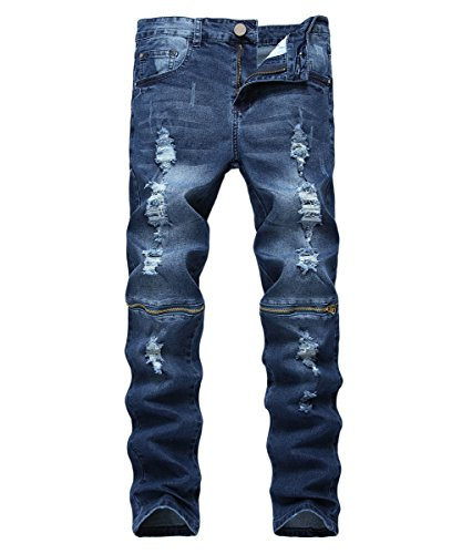 Cloudstyle Men Ripped Skinny Distressed Destroyed Straight Fit Zipper Jeans with Hole Blue