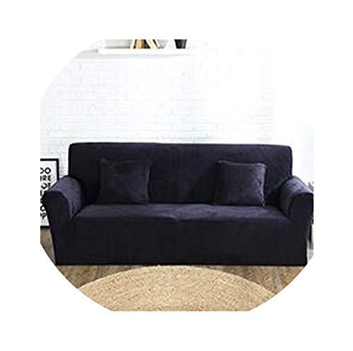hotmoment-uk Fundas de sofá de felpa, color naranja sólido, elástica, tela de terciopelo, antiácaros, para el hogar, color negro, asiento individual, 75 x 145 cm