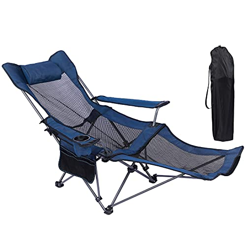 NURTUDIS Camping Lounge Chair,Folding Reclining Camping Chair, Portable Camping Chair with Footrest,Storage Bag & Headrest, Mesh Recliner with Backpack, 330lbs Weight Capacity (Blue)