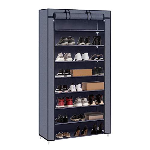 Meerveil stojak na buty płócienna półka na buty szafka na buty stojące buty organizer na buty na 45 par butów z pyłoszczelną osłoną szary 88 x 28 x 160 cm