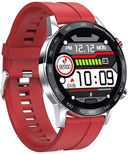 Reloj inteligente para hombre Reloj de mujer Rastreador de fitness impermeable ejercicio ritmo cardíaco Monitoreo de actividad podómetro Tracker-Silver Red Silicone