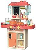 JT-Lizenzen Luna Spielküche Kinderküche mit Wasser Licht Sound und 36-TLG. Koch Zubehör Rosa +3J