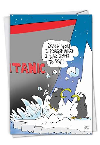 Titanic Bump – verspätete Geburtstagskarte mit Umschlag (11 x 17 cm) – zeigt einen Pinguin-Hit von einem berühmten Schiff, C7263BEG