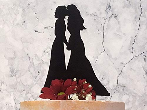 Cake Toppers Acrylic, Two Brides Kissing Lesbian Silhouette Wedding Cake Topper, Black