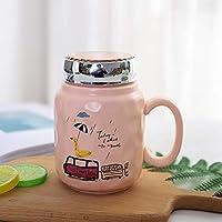 韓国のセラミックカップかわいいクリエイティブミルクコーヒーマグ401-500mlキャットオレンジ