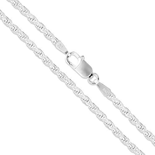 """Sterling Silver Diamond-Cut Rope Chain 2mm Solid 925 New Necklace 20"""""""
