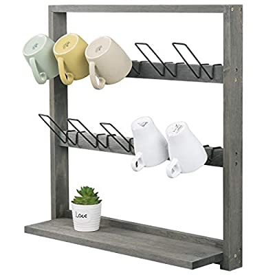 MyGift 10 Detachable Metal Hook Mug Holder/Vintage Gray Wood Wall Mounted Kitchen Storage Rack with Shelf by MyGift