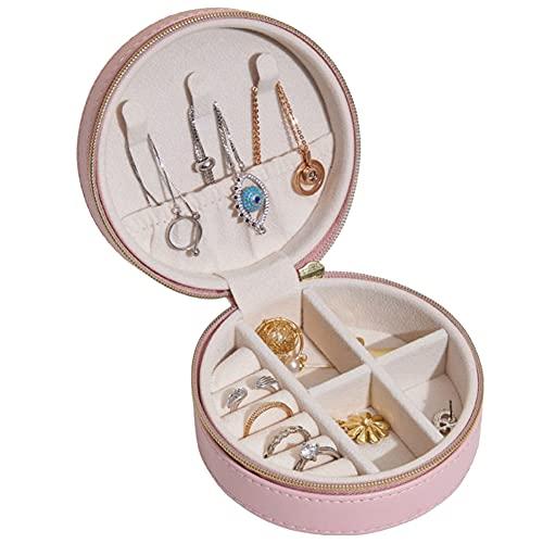 Joyero organizador de viaje para joyas, ideal para collares, pendientes, anillos, expositores, regalo ideal para niñas y mujeres, color rosa