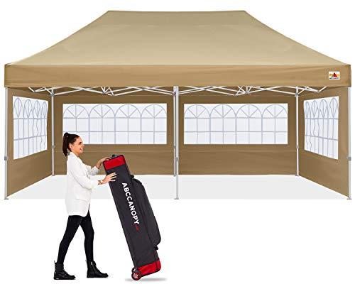 ABCCANOPY Ez Pop Up Canopy Tent 10x20 with Church Window Sidewalls, Party Tent-Series,Beige