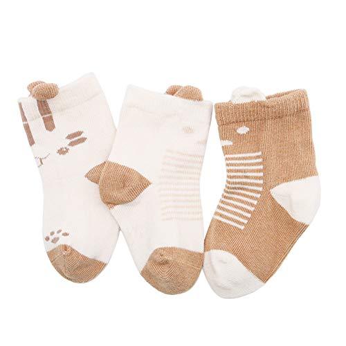 Elanpu Kindersocken Herbst und Winter Baumwolle 0-1-2 Jahre alt Niedliche Cartoon Stereo Ohr Baby Socken 3 STK,EIN,12-14