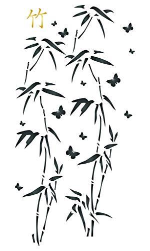 Japanische Bambus-Schablone – klassische orientalische Pflanzen-Blätter Schmetterling Wand-Schablonen Größe S