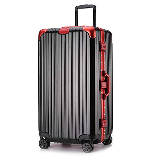 XinFeng Aluminiumrahmen-Trolley-Universalradgepäck 32-Zoll-Dickes Reisegepäck mit großer Kapazität Schwarz mit rotem 30 Zoll