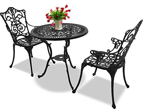 Homeology TABREEZ - Juego de mesa de jardín y patio y 2 sillas grandes con reposabrazos (aluminio fundido), color negro