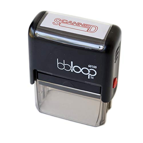 """bbloop Stamp """"SCANNED"""" Self-Inking RED Solid Color, Laser-engraved stamping Rubber, 1"""" x 2"""" stamping area. Smudge-Free for Professional or Home Use, Easy Organizing, Record-Keeping and Filing, Long-lasting Ink Pad, Refillable"""