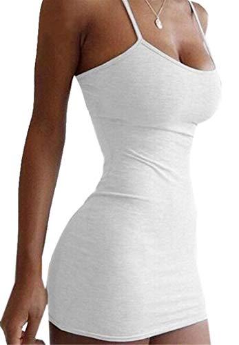 Mstyle-ES Women's Bodycon Pure Color Spaghetti Strap Sexy Stretch Club Mini Dress White S