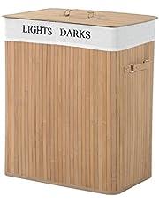 HOMCOM Wasmand, wasbox, wasverzamelaar met deksel, zeildoekzak, zeildoek + bamboe natuur/grijs, 100 l, 52 x 32 x 63 cm