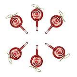 Adorno de Piruleta de Navidad, 6 Piezas Adorno Colgante para árbol de Navidad Decoración Creativa para Fiesta de Fiesta Raya roja Dulce Piruleta de Acrílico Año Nuevo Decorar Suministro