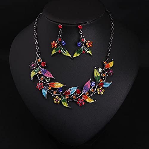 YZYZ Moderno juego de mujer de piedras preciosas multicolor con forma de rama y pendientes de estilo étnico, decoración de escenario