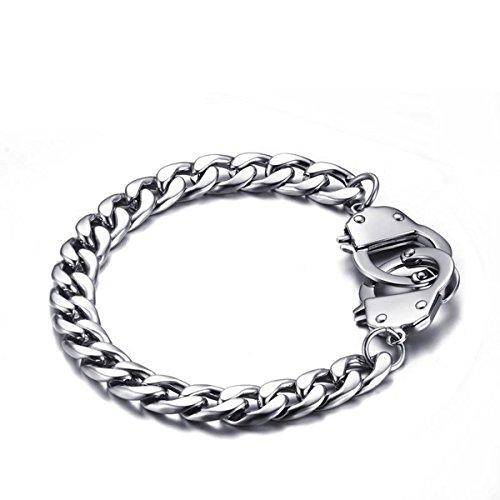 HOUSWEETY Edelstahl Handschellen Figaro Kette Armband 20.5cm