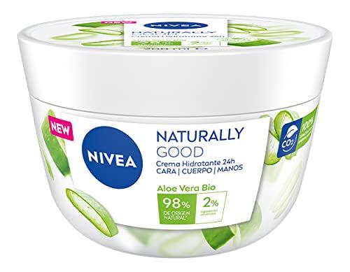 NIVEA Naturally Good Crema Hidratante Corporal 24h Aloe Vera BIO (1 x 200 ml), crema para cara, cuerpo y manos con un 98% de ingredientes de origen natural