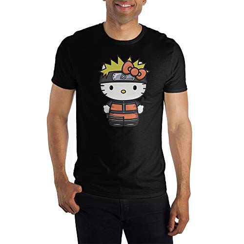 Mens Hello Kitty Naruto Anime Cartoon Crossover Black Shirt-L