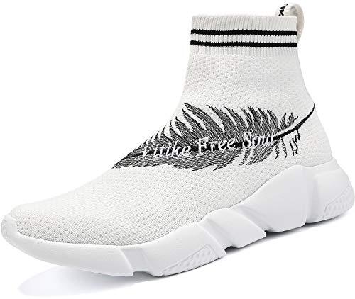 Elaphurus Damen Leichte Turnschuhe Slip-on Walking Schuhe Socks Schuhe Mode Sneaker Herren Hallenschuhe Kinder Sneaker, 6 Weiß, 38 EU