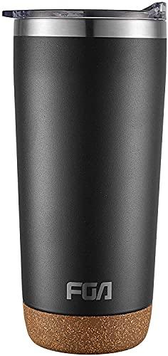 FGA Kaffeebecher Edelstahl Staubdicht Deckel Thermobecher Mug 600ml Isolierbecher BPA-frei Reisebecher für heiße und kalte Getränke Schwarz