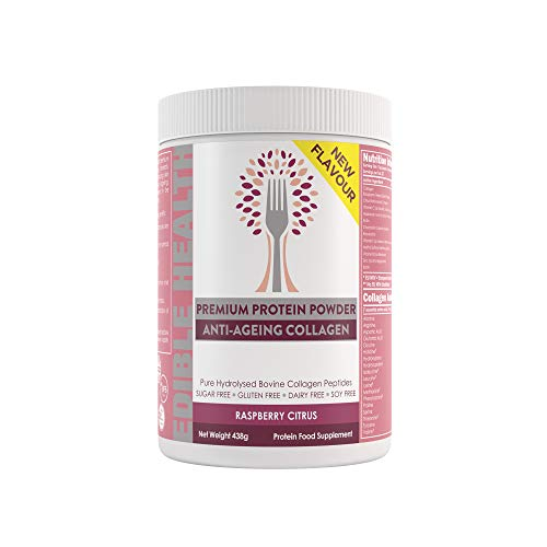 Premium Anti-Ageing Collagen Powder. Fast Acting Hydrolysed Bovine Protein Peptides from EU with Vitamins C, E, B2, Zinc, Biotin, MSM, Hyaluronic Acid. 438g Tub. 25 Days. New Raspberry Citrus Flavour