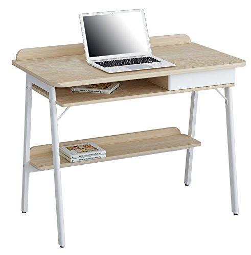 SixBros. Schreibtisch in Eiche/weiß, Arbeitstisch für Büro & Home-Office, Computerschreibtisch, 100 x 55 cm CT-3581/4462