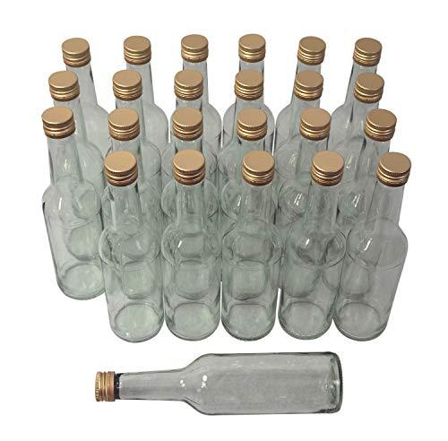 Destillatio Lot de 24 bouteilles de spiritueux de 0,5 l - Avec couvercle à visser doré - Verre transparent