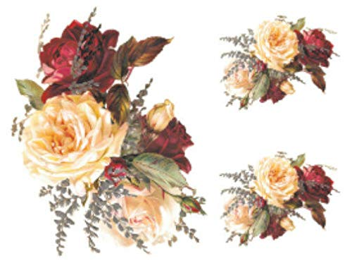 VERITS for Vintage Image Shabby Roses Furniture Transfers Decoupage Waterslide Decals FL430 Tole Decals & Transfers - Image Sizes is B - 1 Large + 2 Medium