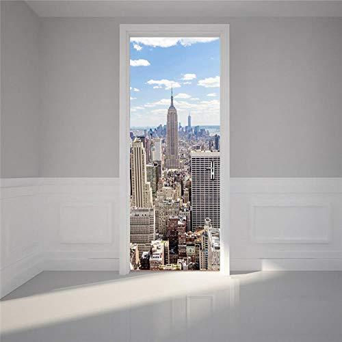 BXZGDJY 3D Habitaciones De Vinilo Etiqueta De La Puerta Papel Tapiz Murales Murales Pegatinas Carteles Pegatinas De Pared Diy Decoraciones Mercado De Nueva York 95X215Cm