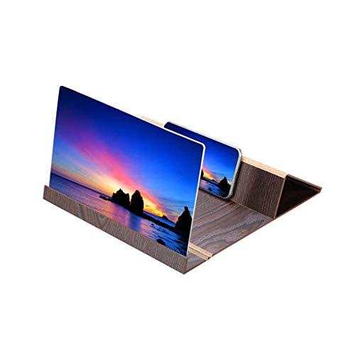 Lupa de pantalla para teléfono móvil, plegable, accesorios de soporte para teléfono móvil de alta definición de 12' con amplificador de pantalla para vídeo y transmisión en vivo (marrón)