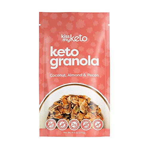 Kiss My Keto Granola Low Carb Cereal — Coconut, Almond & Pecan Nut Keto Cereal [9.5oz], 2g Net Carb | No Added Sugar, Soy & Gluten Free | Zero Grain & Non-GMO — Clean & Healthy Keto Breakfast Snacks