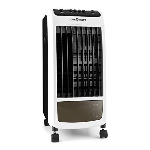 OneConcept CarribeanBlue - Rafraichisseur d'air, Ventilateur, Refroidisseur, 3 en 1, Jusqu'à 400m³/h, 3 Vitesses, Réservoir de 4L, Faible consommation : 70 Watts - Blanc/Gris