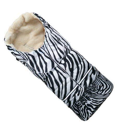 Baby-Joy Fußsack NILS XL 110cm | 5in1 | Winterfußsack Lammwolle/Polyester Schlitten Kinderwagen Buggy | SUPERWASH & SUPERTHERM | 26 Zebra