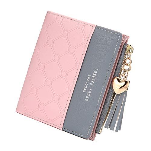 JOSEKO Damen Geldbeutel, Quaste PU Leder Portemonnaie Multi Slots Kleine Brieftasche Schlanke Kartenhalter Geldbörse Für Frauen Pink