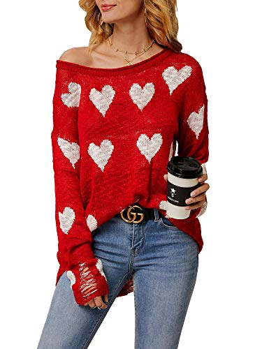 Chang Yun Women Off Shoulder Long Sleeves Casual Tops Hearts Printed Pullovers Sweater with Hole Red