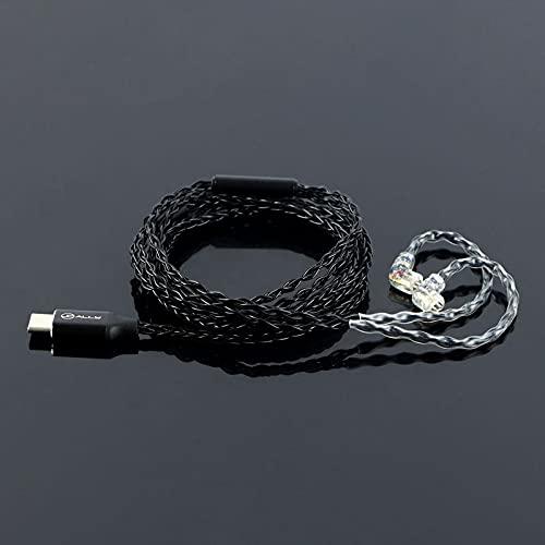 Cable de auriculares tipo C bañado en plata, con decodificación digital, compatible...