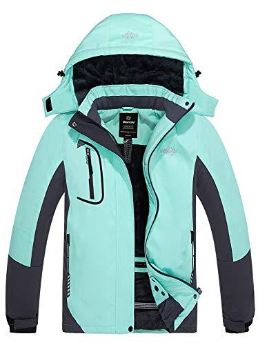 Wantdo Women's Winter Warm Ski Jacket Waterproof Rain Snowboard Coat Mint Green M