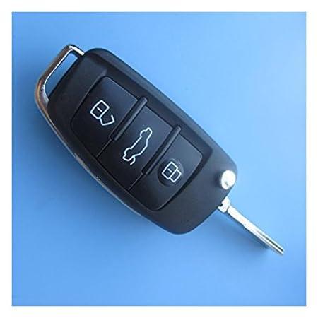 Ersatz Schlüsselgehäuse Mit 3 Tasten Autoschlüssel Klappschlüssel Schlüssel Mit Rohling Haa Fernbedienung Funkschlüssel Gehäuse Ohne Elektronik Für Audi Auto