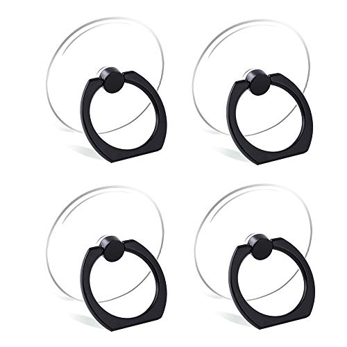 Cell Phone Ring Holder Stand Transparent Finger Grip Loop 360 Degree Rotation Finger Ring Stand (4 x Black (Round))