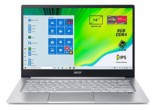 "Acer Swift 3 SF314-42-R1RA Pc Portatile, Notebook con Processore AMD Ryzen 5 4500U, Ram 8 GB DDR4, 512 GB PCIe NVMe SSD, Display 14"" FHD IPS LED LCD, Scheda Grafica AMD Radeon, Windows 10 Home, Silver"