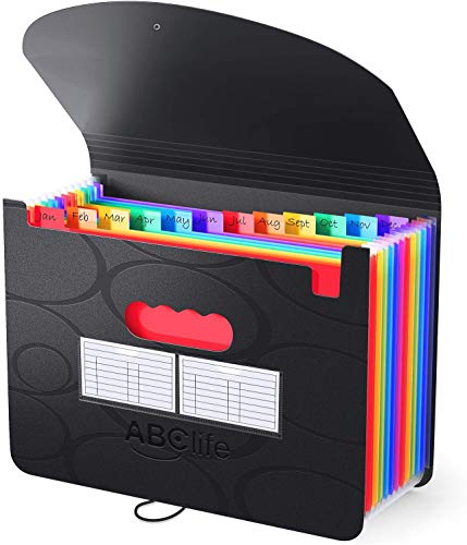 ABClife Accordian File Organizer 13 Pockets,Expanding File Folder with Upgrad Bubble Pattern,Portable A4 Letter Size Filling Box, Expandable Accordion Folder,Plastic Document Bill Receipt Organizer