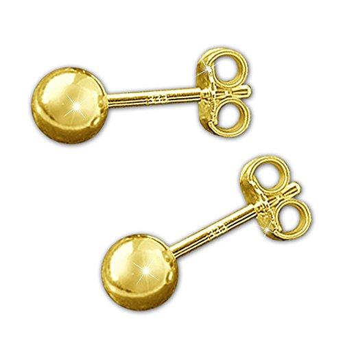 Clever Schmuck Goldene Paar Damen Ohrstecker Kugel Ø 5 mm glänzend 333 GOLD 8 Karat