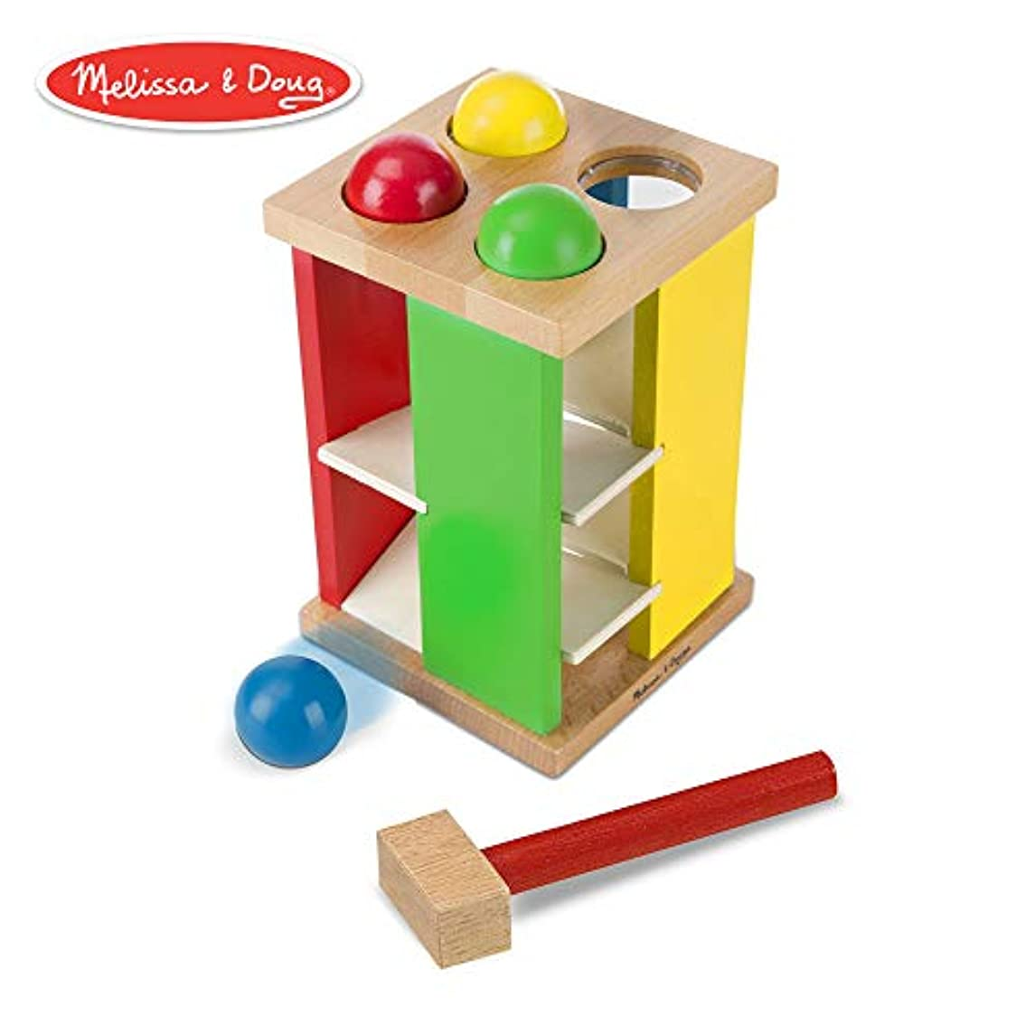 Melissa & Doug Pound & Roll Tower (Developmental Toy, Classic Pounding Toy, Bright-Colored Pieces, Durable Construction)